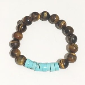 Tiger Eye and Turquoise Elastic Beaded Bracelet